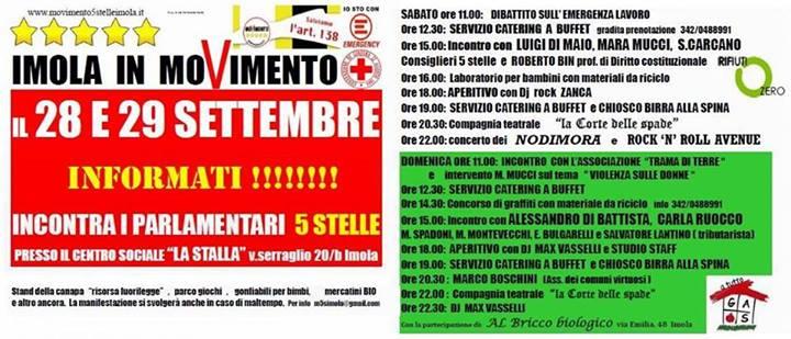 Sabato 28 e Domenica 29 Settembre a Imola