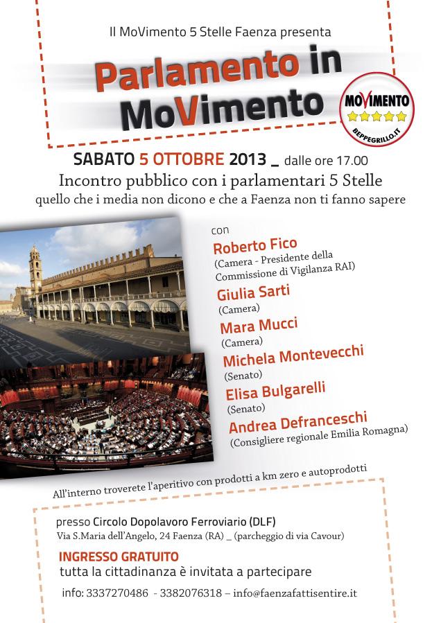 5 Ottobre a Faenza incontro con Parlamentari M5S