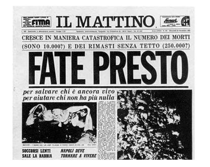 Irpinia, tanta Italia nella tragedia