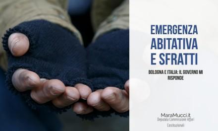 Emergenza abitativa a Bologna e nel paese: il Governo mi risponde