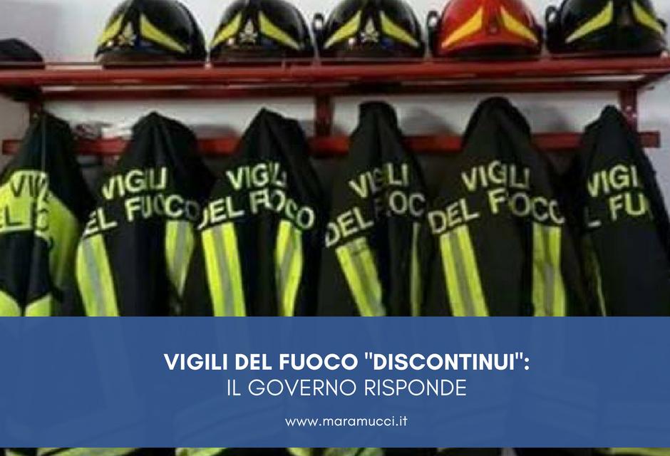 """VIGILI DEL FUOCO """"DISCONTINUI"""": IL GOVERNO RISPONDE"""
